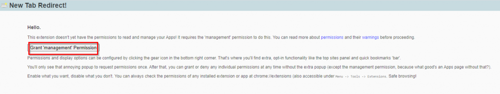 allowing Apps management permission to New Tab Redirect add-on in Chrome