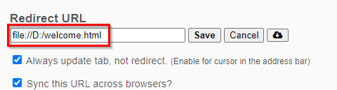 adding a local file as custom URL in New Tab Redirect