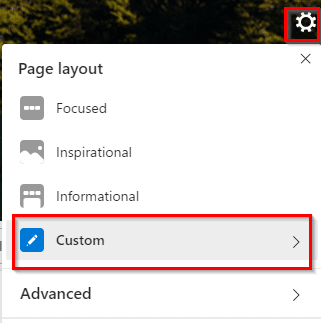 changing page layout settings for the new tab page in Microsoft Edge