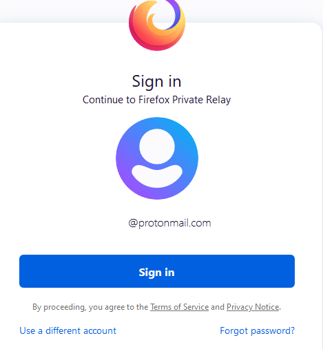 sign in to Firefox Relay