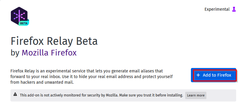 installing the Firefox Relay add-on