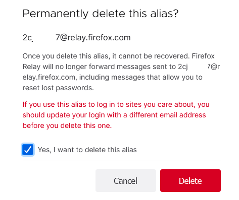 confirm deleting a relay alias in Firefox Relay