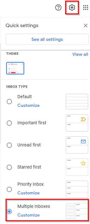 enabling Multiple Inboxes in Gmail