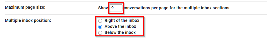 other Multiple Inboxes settings in Gmail