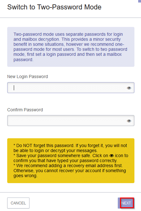 choosing a new login password for two password mode in protonmail