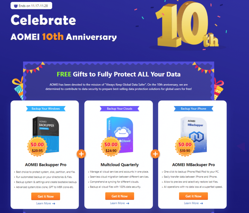 AOMEI 10th anniversary celebration
