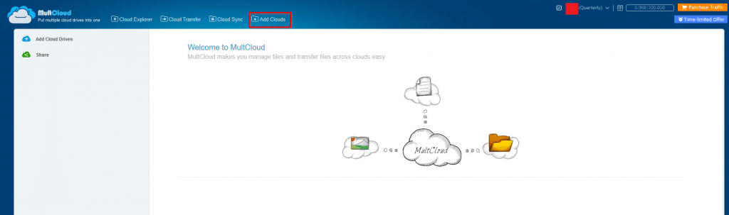 Multcloud interface for managing different cloud storage accounts
