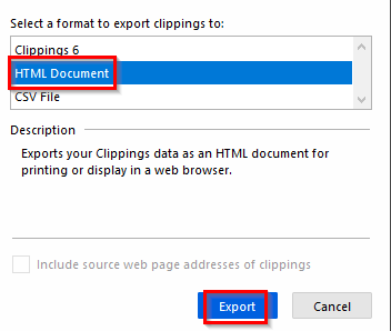 exporting the clippings as a HTML file