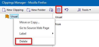 deleting clippings in Clippings add-on