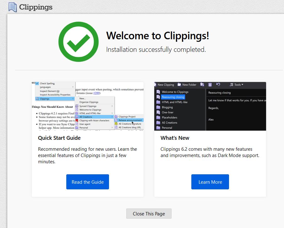 a brief description about Clippings add-on