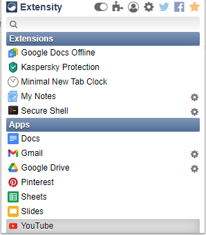 Extensity displays all the installed Chrome add-ons and apps