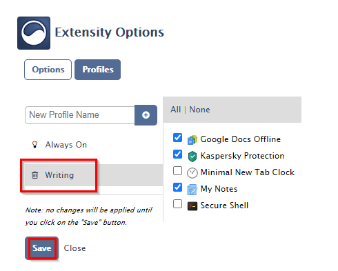 saving the created profile in Extensity