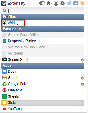 list of created profiles that can be switched to in Extensity