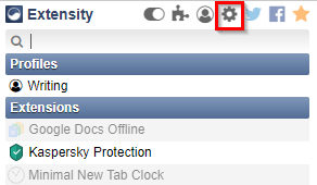 accessing Extensity options