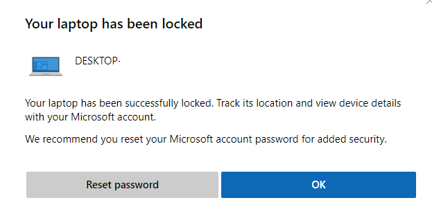 Windows 10 device locked using Find My Device