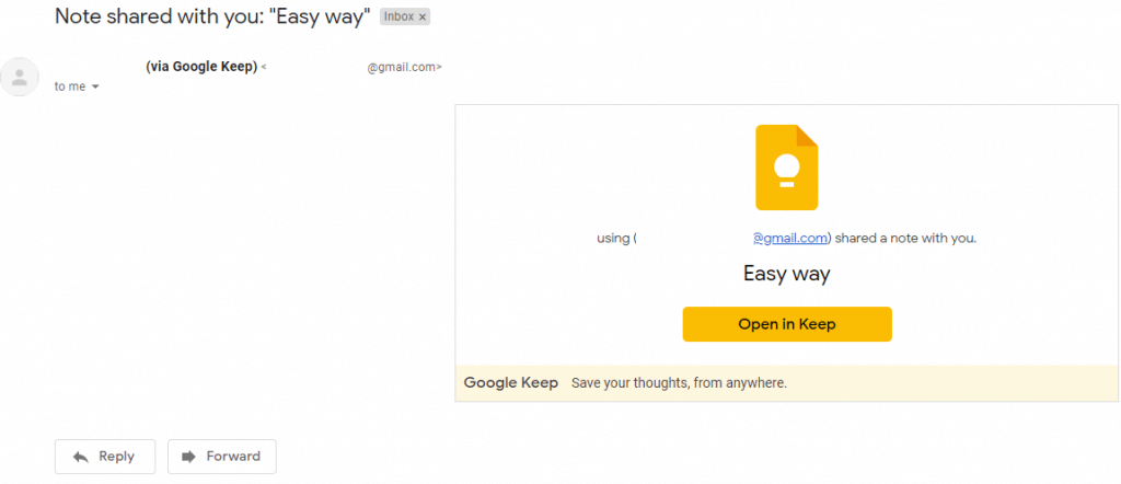 note sharing invite received by recipients through Google Keep