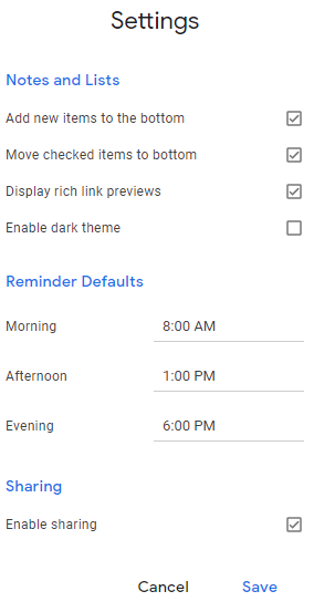 various Google Keep settings that can be configured