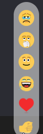 Using the React button for adding emoticons in meetings of Meet Now