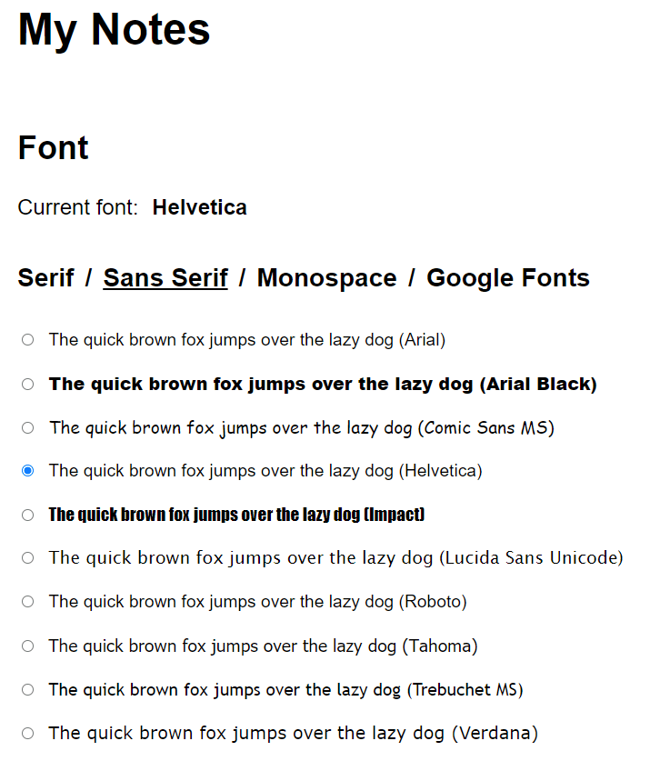changing font and appearance settings in My Notes