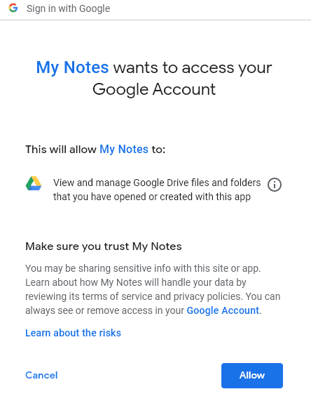 allowing My Notes to access Google account for Google Drive