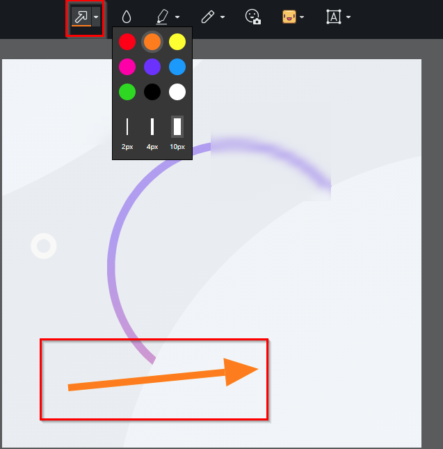adding arrows to screenshots using the Opera snapshot tool