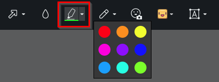 choosing the highlight option in the Opera snapshot tool