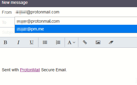 enabling short domains in ProtonMail