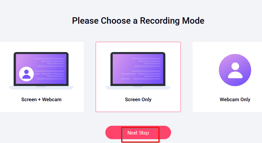 choosing a recording mode in RecordCast