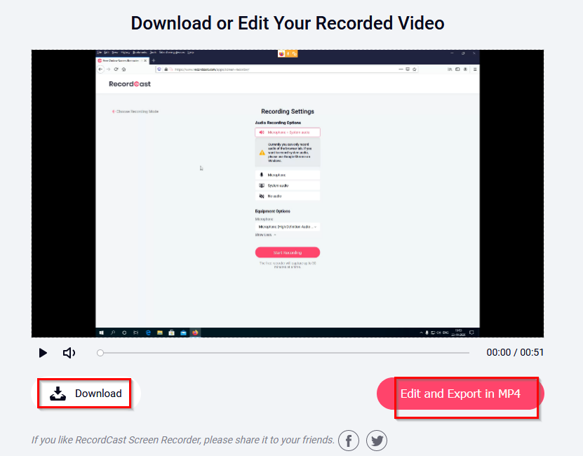 download or edit the recorded video using RecordCast