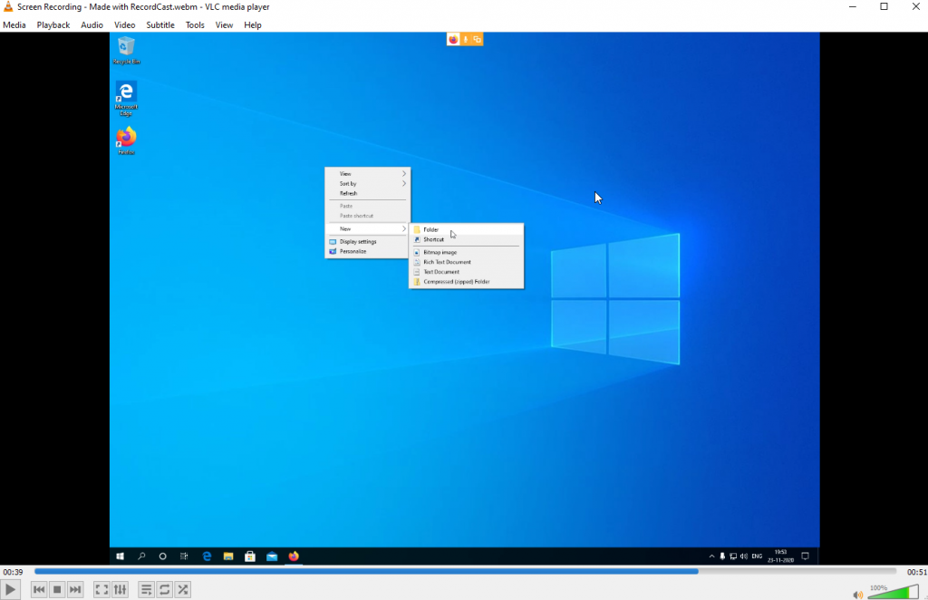 playing the recorded video offline using multimedia player