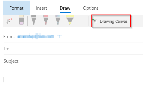 using drawing canvas in Windows 10 Mail app