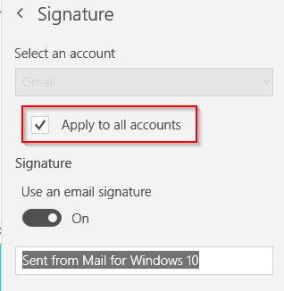 email signature settings in Windows 10 Mail app