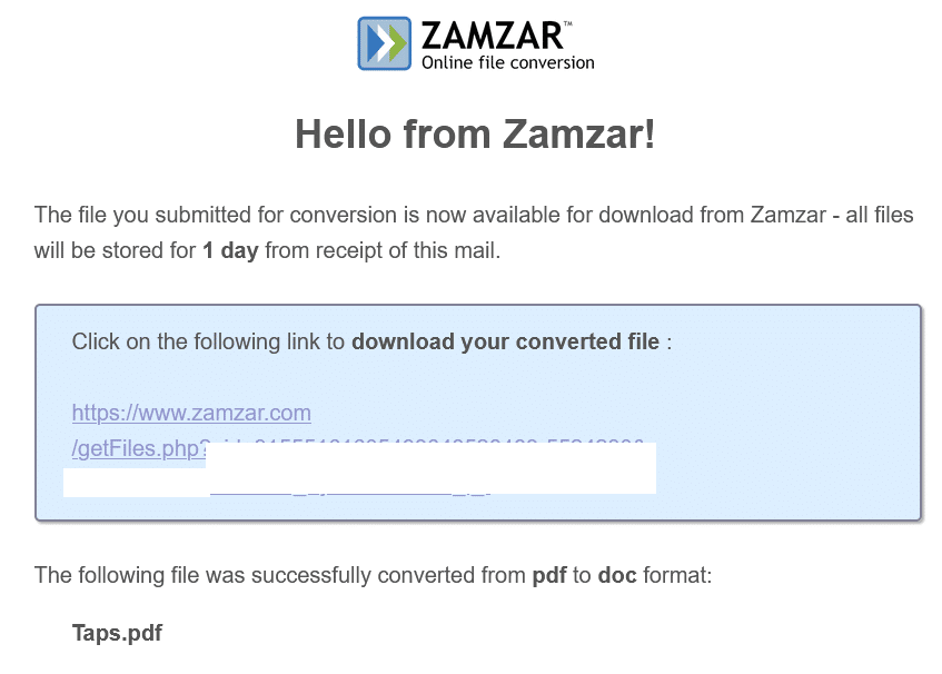 file link for download from Zamzar when it was converted via email