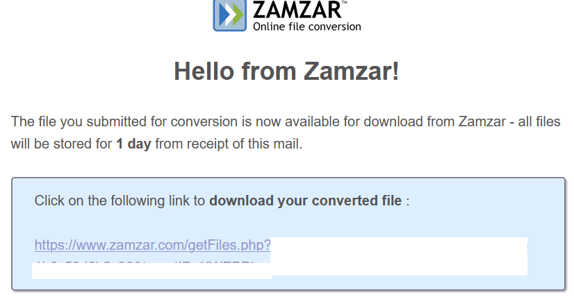 email message with the file download link from Zamzar