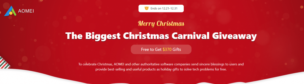 AOMEI Christmas Carnival Giveaway 2020