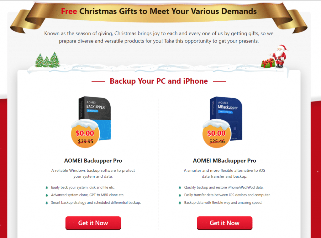 Different software products based on categories in AOMEI Christmas carnival giveaway