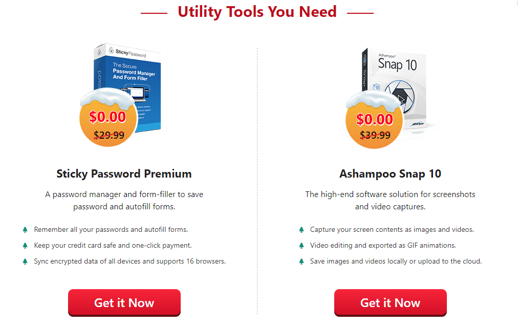 Sticky Password Premium and Ashampoo Snap 10 Christmas 2020 giveaway