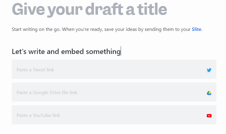 embedding links from file storage services and social media when using Draft by Slite