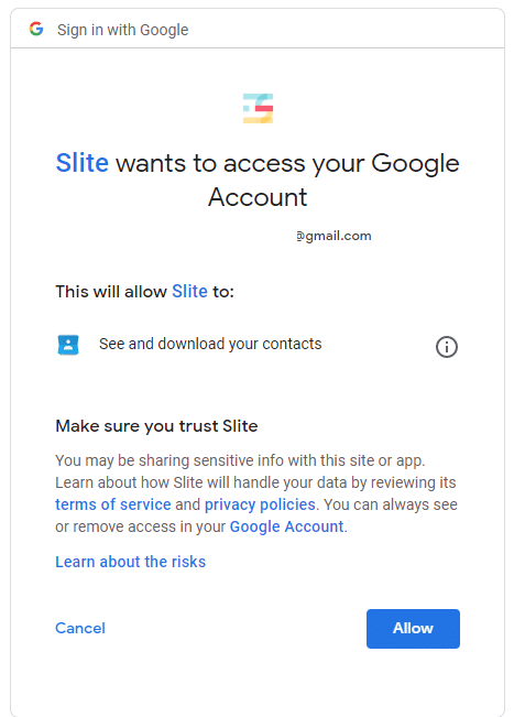 enabling Google account sign-up for Slite