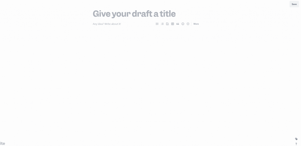 Draft by Slite interface when opening new Chrome tab