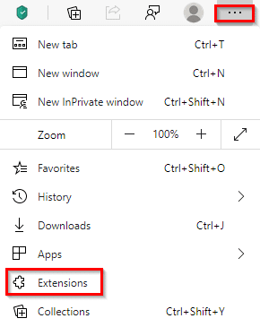accessing extension settings in Microsoft Edge