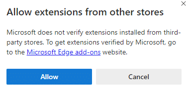 confirm allowing extensions from other stores in Edge