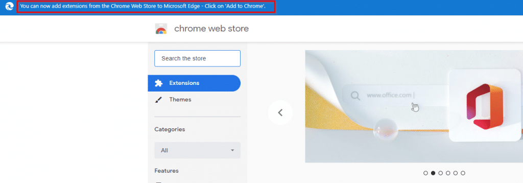 accessing chrome web store in Microsoft Edge browser