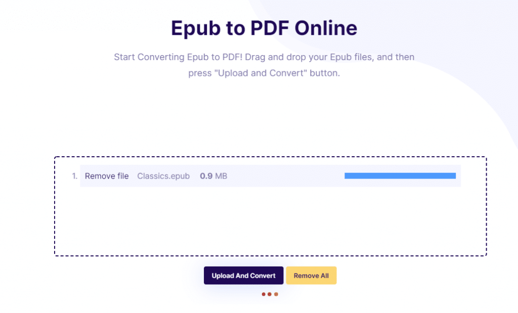 Converting EPUB files to PDF using the online converter
