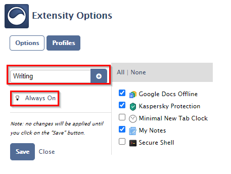 creating a new profile in Extensity