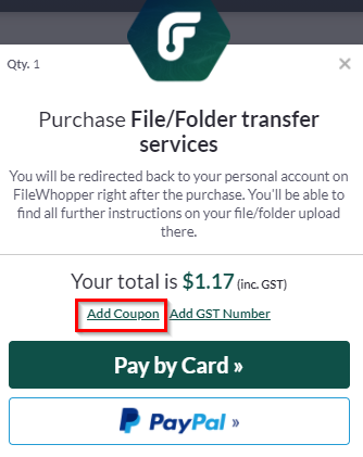 adding FileWhopper giveaway coupon during checkout