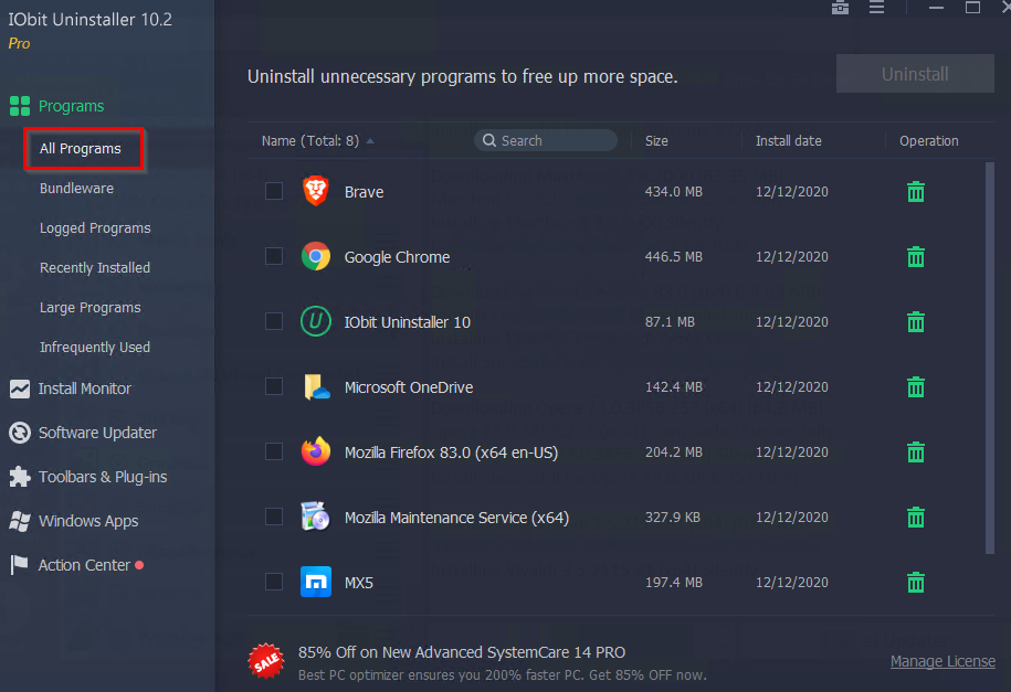 a list of all the installed programs displayed in IObit Uninstaller Pro