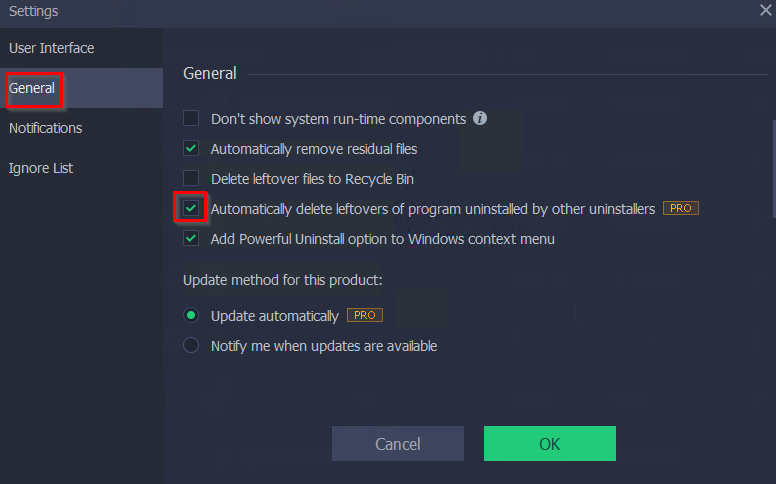 managing other settings in IObit Uninstaller Pro