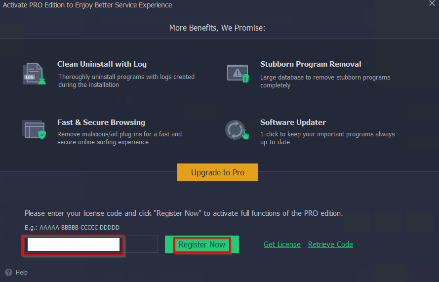 entering the giveaway license code for IObit Uninstaller Pro