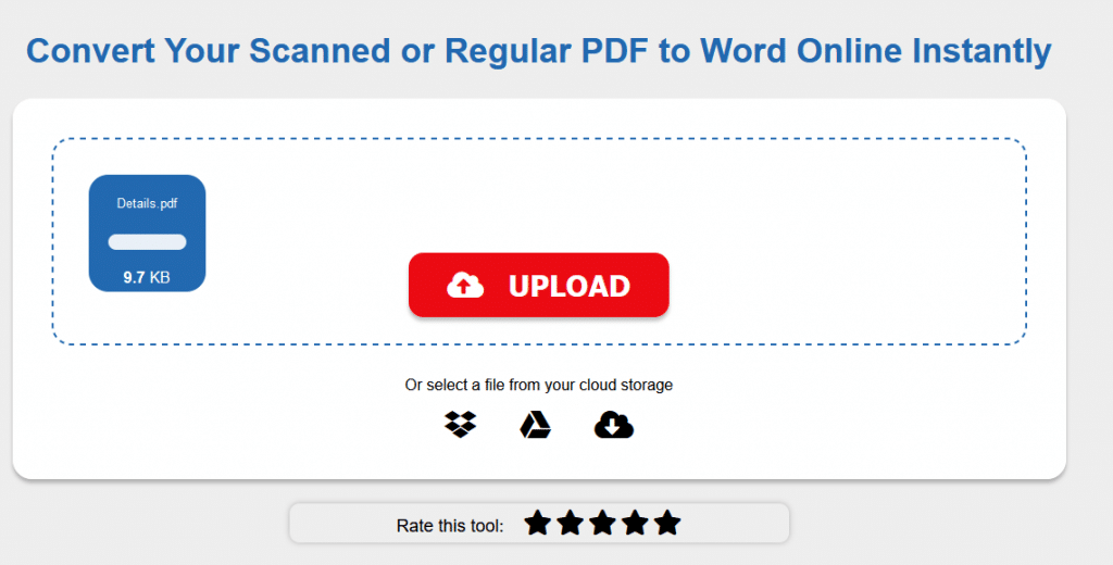 converting uploaded PDF file to Word using PDF to Word Converter
